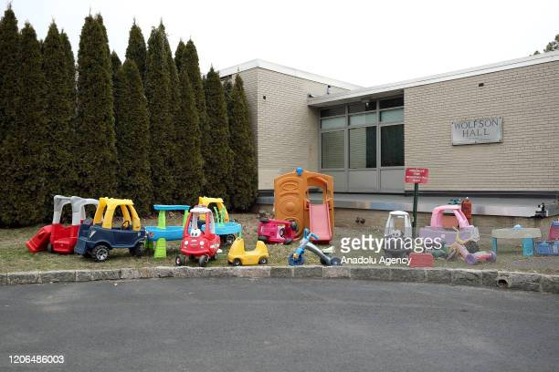 Abandoned toys are seen at the Westchester Day School in New York United States on March 10 2020 Westchester County in New York will be placed under...
