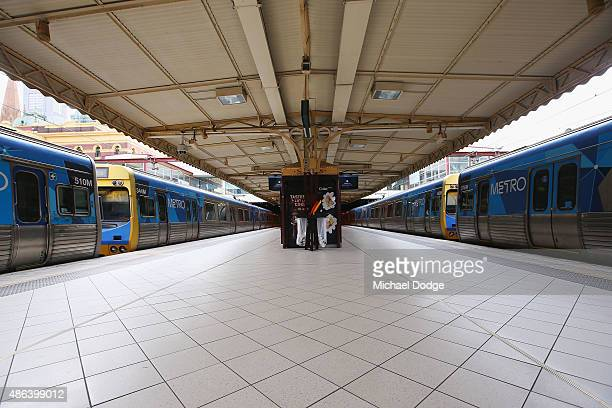 Abandoned trains are left by striking Train Union workers at Flinders Street Station as the stations gets closed down on September 4 2015 in...
