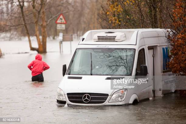 abandoned van in flood water - mercedes benz stock pictures, royalty-free photos & images
