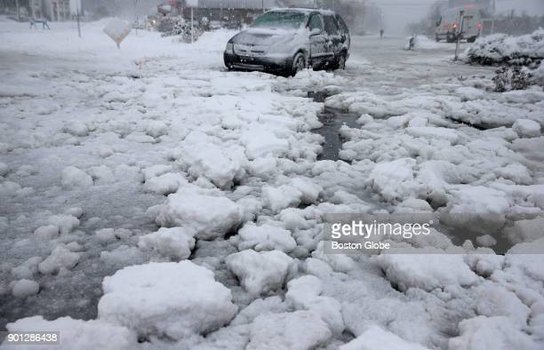 A abandoned vehicle on Nantasket Avenue in Hull Mass on Jan 4 during a massive winter storm