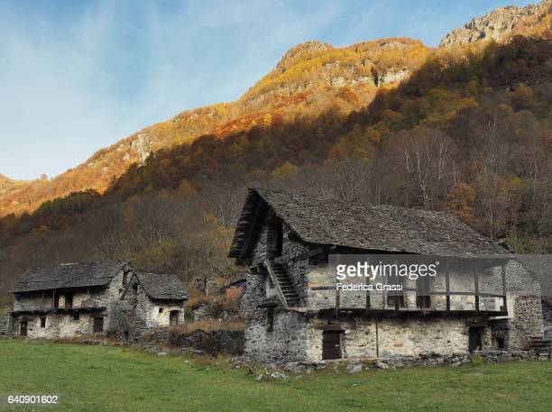 Abandoned Village Built With Local Granite Stone In Verzasca Valley, Ticino, Switzerland