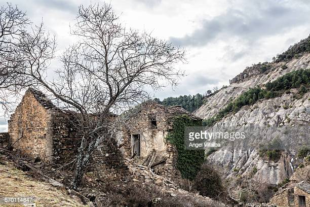 abandoned village of muro de bellos - muro stock photos and pictures