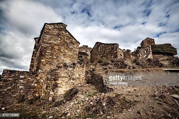 abandoned village of muro de bellos - muro stock photos and pictures