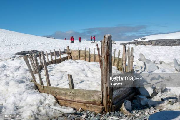 abandoned whaling station on deception island. - south shetland islands stock pictures, royalty-free photos & images