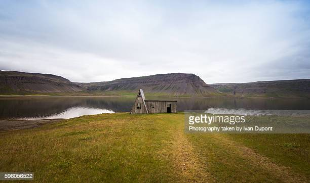abandoned wooden house - westfjords iceland stock photos and pictures