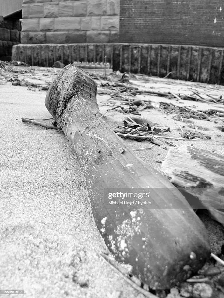 Abandoned Wooden Propeller On Sand At Beach : Stock Photo