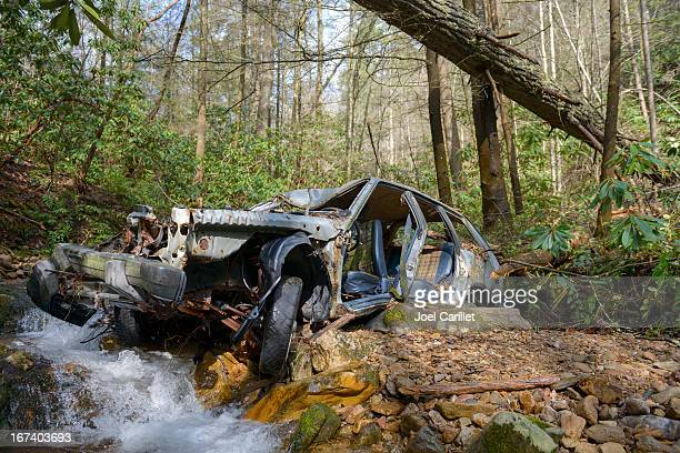 Abandoned wrecked car in woods in Unicoi County, Tennessee