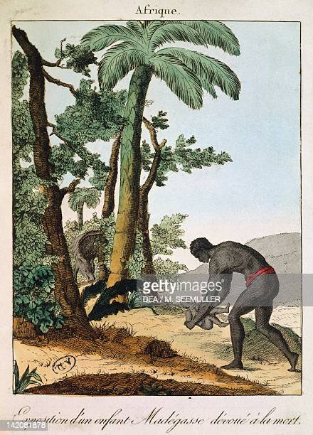 Abandoning a baby to die Madagascar 19th century Engraving
