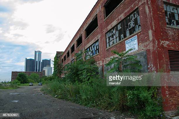 abandonned factory in detroit michigan - detroit michigan stock pictures, royalty-free photos & images