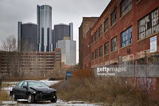 Abanonded factories near the GM Headquarters The decadeslong decline of the US automobile industry is acutely reflected by the urban decay in Detroit...
