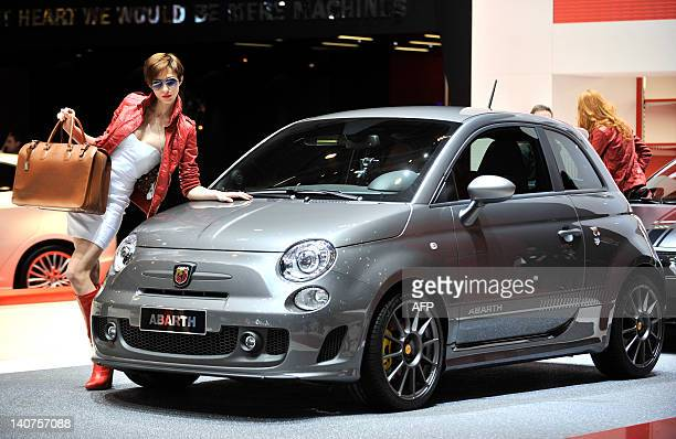 A Abarth 595 Competizione is displayed at the Italian car maker's booth during a press day ahead of the 82nd Geneva Motor Show on March 6 2012 in...