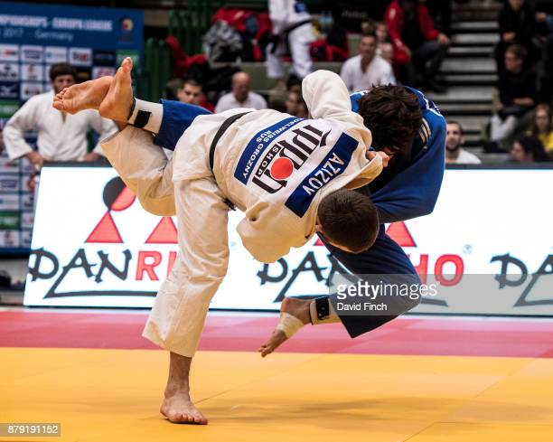 Abas Azizov of Russia and the Edelweiss team attacks Igor Herrero of Spain and the Valencia club without score but later threw Herrero for an ippon...