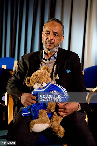 Abase Hussen father of Amira Abase holds a bear that Amira gave her mother as he is interviewed by the media at New Scotland Yard as the relatives of...