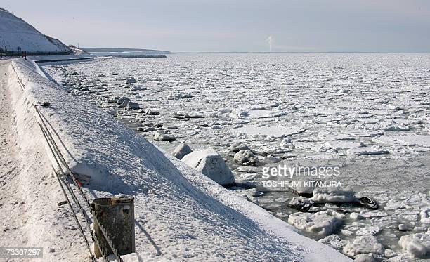 Drifting ice reach the coastline of the Shiretoko Peninsula on the Sea of Okhotsk in Shari town some 1000 kilometres north of Tokyo 10 February 2007...