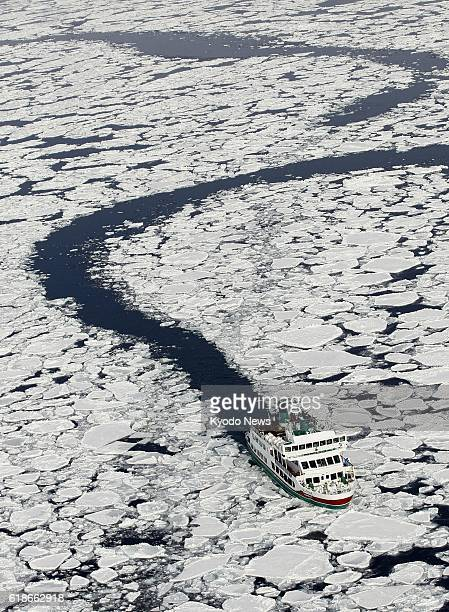 Abashiri Japan Photo taken from a Kyodo News helicopter shows the sightseeing icebreaker Aurora advancing through waters covered by drift ice off...