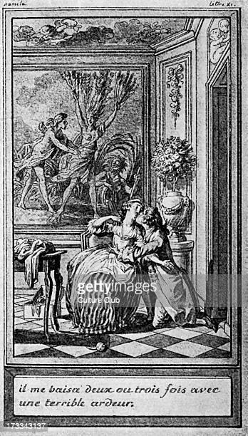 Abbé Prévost's translation of Samuel Richardardon's Pamela or Virtue Rewarded' from illustration by Marillier Caption 'Il me baisa deux ou trois fois...