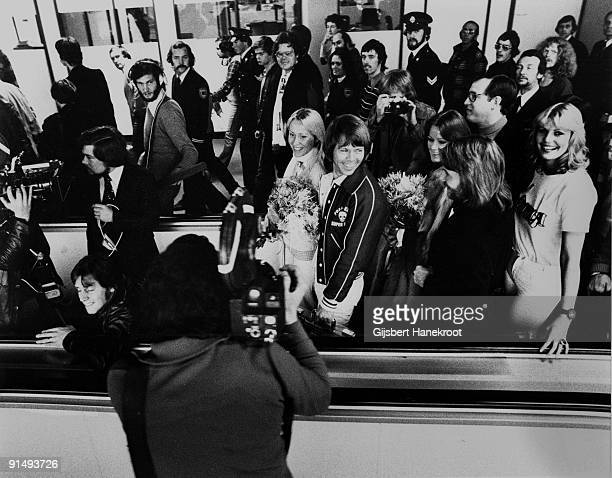 Abba arrive at Schiphol Airport before performing on the Dutch TV programme 'Een Van De Acht' on November 23 1976 LR Agnetha Faltskog Bjorn Ulvaeus...