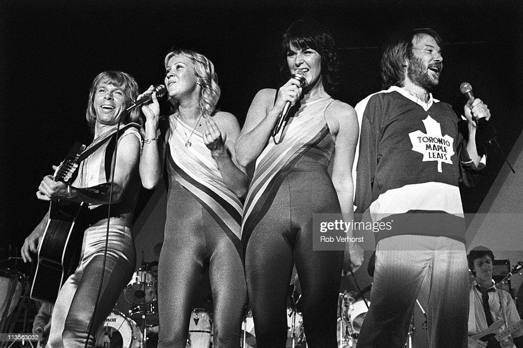 Abba, (L-R) Bjorn Ulvaeus, Agnetha Faltskog, Anni-Frid Lyngstad, Benny Andersson, perform on stage at Ahoy, Rotterdam, Netherlands, 24th October 1979.