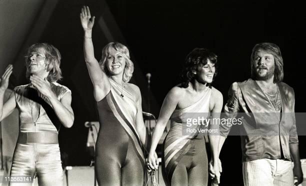 Abba Bjorn Ulvaeus Agnetha Faltskog AnniFrid Lyngstad Benny Andersson perform on stage at Ahoy Rotterdam Netherlands 24th October 1979