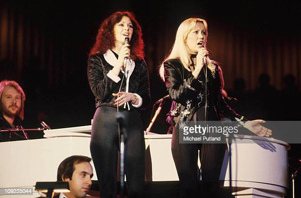 Abba perform at Unicef Gala in New York, 8th January 1979, Bjorn Ulvaeus, Anni-Frid Lyngstad, Agnetha Faltskog.