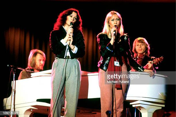 Abba perform at Unicef Gala in New York, 8th January 1979, Bjorn Ulvaeus, Anni-Frid Lyngstad, Agnetha Faltskog, Benny Andersson.