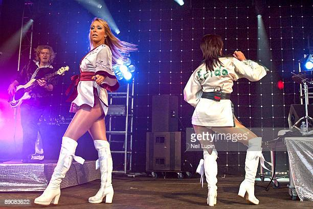 Abba tribute band Bjorn Again performs on stage at Madstock 2009 at Victoria Park on July 17 2009 in London England