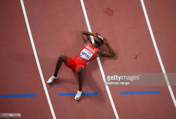 Abbas Abubakar Abbas of Bahrain racts after the 4x400 Metres Mixed Relay during day three of 17th IAAF World Athletics Championships Doha 2019 at...