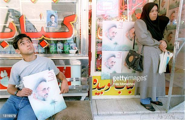 Abbas Aghapoor takes a break outside the Shashlik restaurant June 7, 2001 in central Tehran, Iran on the eve of the Iranian presidential election,...