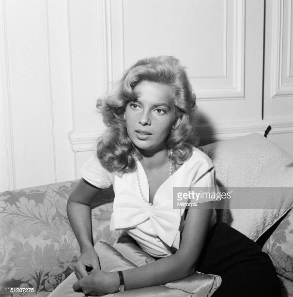 Abbe Lane American singer and actress in the UK to make a film for television photocall hotel London Thursday 6th August 1959