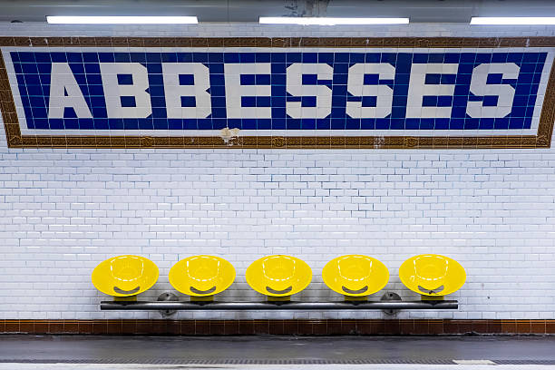 Abbesses metro sign and seating, Paris, France