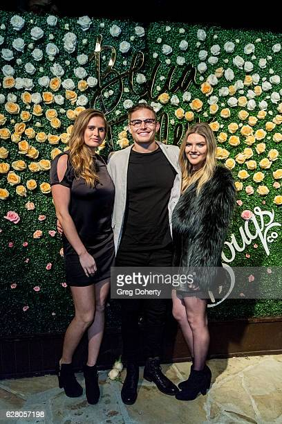 Abbey and Colton Cowley and Caroline Tilley arrive at Becca Tilley's Blog And YouTube Launch Party at The Bachelor Mansion on December 5 2016 in Los...
