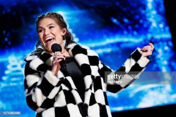 Abbey Anderson performs at the 96th annual National Christmas Tree Lighting at The Ellipse in President's Park on November 28 2018 in Washington DC