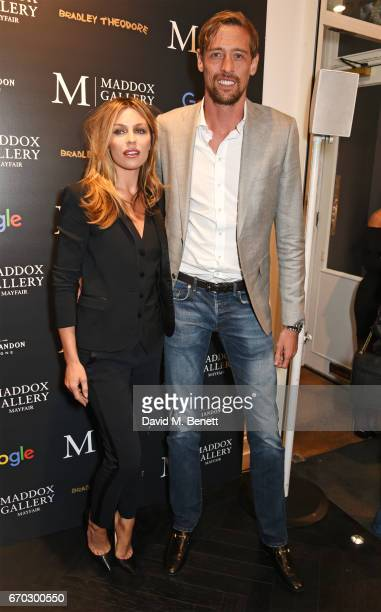 Abbey Clancy and Peter Crouch attend a VIP private view for New York artist Bradley Theodore at Maddox Gallery on April 19 2017 in London England
