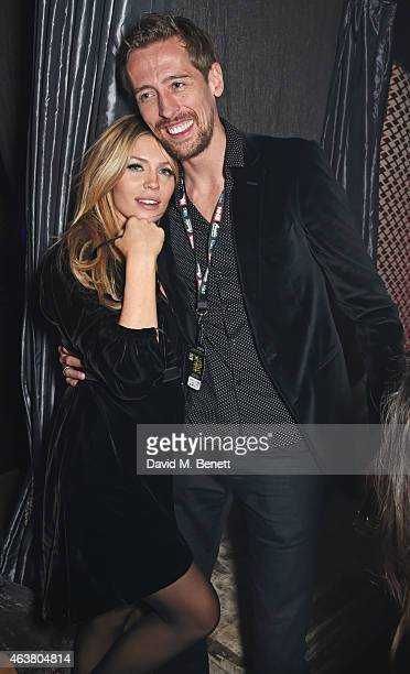 Abbey Clancy and Peter Crouch attend the NME Awards after party at Cuckoo Club on February 18 2015 in London England