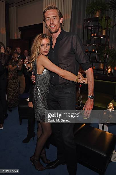 Abbey Clancy and Peter Crouch attend the Warner Music Group Ciroc Vodka Brit Awards after party at Freemasons Hall on February 24 2016 in London...
