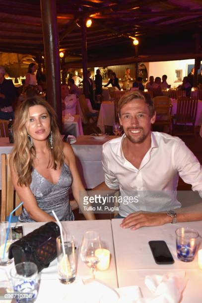 Abbey Clancy and Peter Crouch attend the Welcome Dinner prior to The Costa Smeralda Invitational golf tournamen at Pevero Golf Club Costa Smeralda on...
