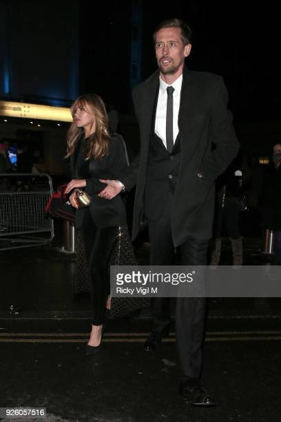 Abbey Clancy and Peter Crouch seen attending The Global Awards at Hammersmith Apollo on March 01 2018 in London England