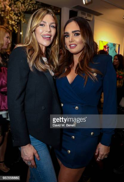 Abbey Clancy and Tamara Ecclestone Rutland attend a private view of artist Dan Baldwin's exhibition 'A New Optimism' at Maddox Gallery on March 15...