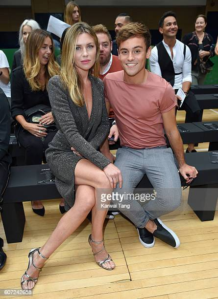 Abbey Clancy and Tom Daley attend the Julien MacDonald show during London Fashion Week Spring/Summer collections 2016/2017 on September 17, 2016 in...