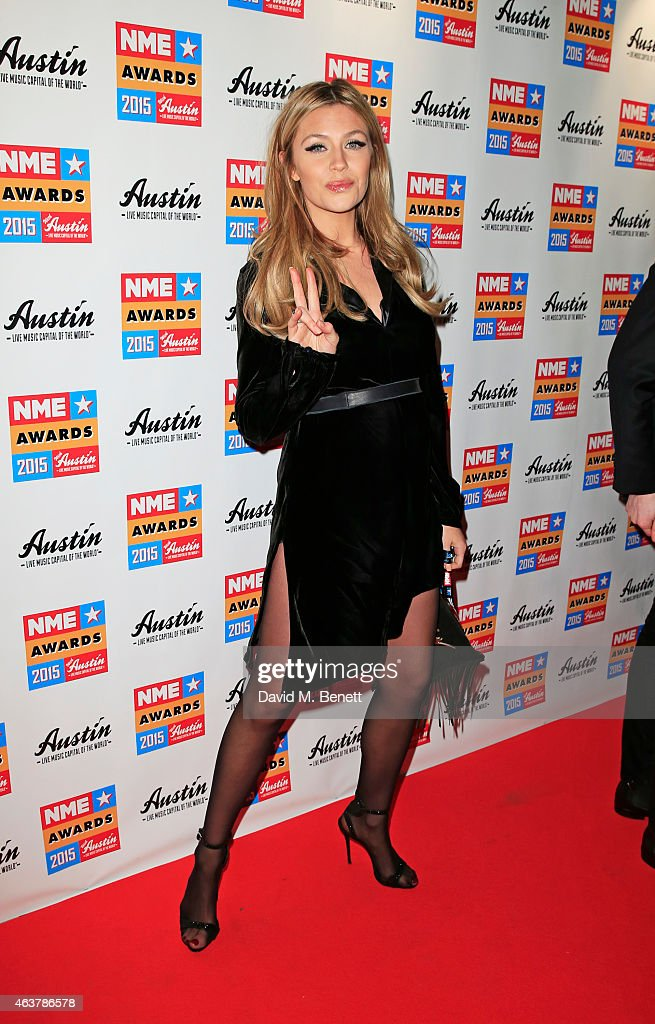 Abbey Clancy arrives at the NME Awards at Brixton Academy on February 18, 2015 in London, England.