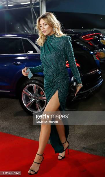Abbey Clancy arrives in an Audi at the BRIT Awards at the O2 Arena on February 20 2019 in London England