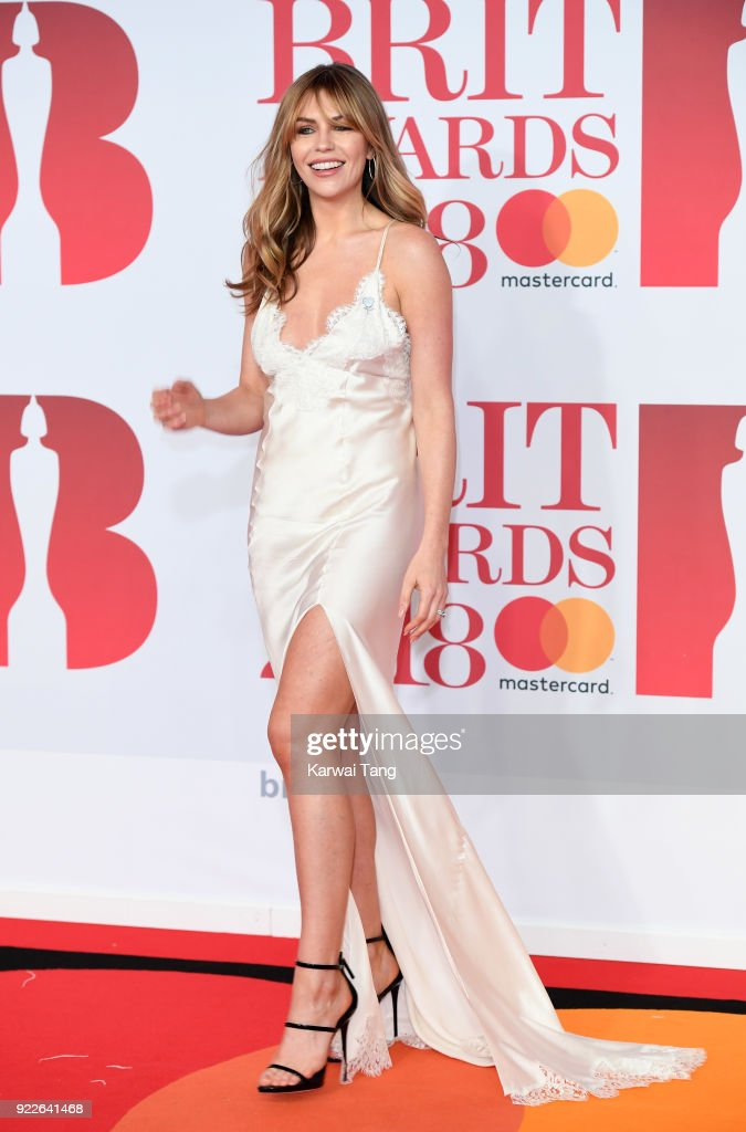 Abbey Clancy attends The BRIT Awards 2018 held at The O2 Arena on February 21, 2018 in London, England.