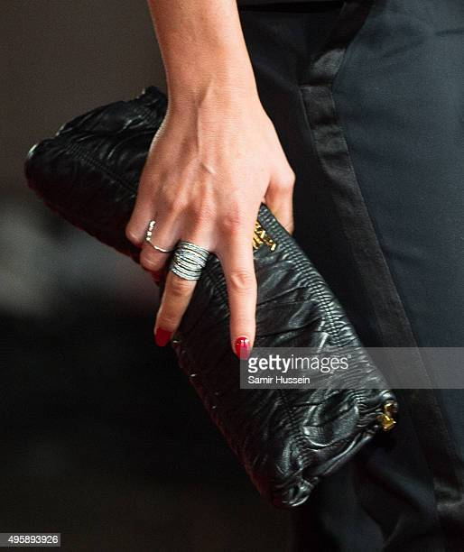 Abbey Clancy bad detail attends The Hunger Games Mockingjay Part 2 UK Premiere at Odeon Leicester Square on November 5 2015 in London England