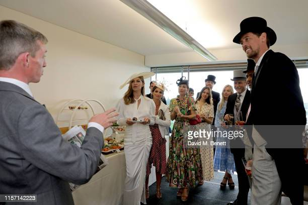 Abbey Clancy Laura Johnson Claire Forlani Lauren Lyle Nell Hudson guest Ben Johnson and Peter Crouch on day 3 of Royal Ascot at Ascot Racecourse on...