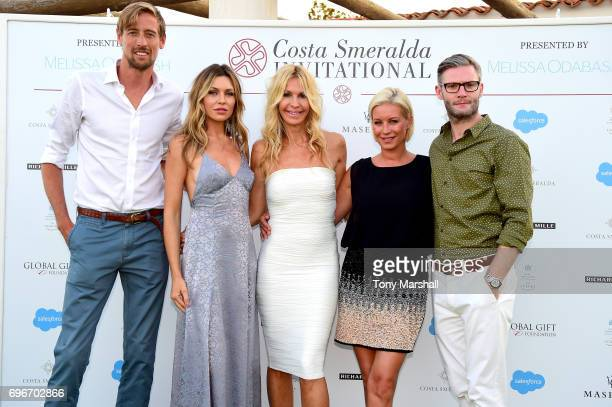 Abbey Clancy Peter Crouch Melissa Odabash Eddie Boxshall and Denise Van Outen attend the Welcome Dinner prior to The Costa Smeralda Invitational golf...