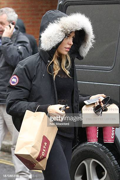 Abbey Clancy seen getting a coffee on the way to a dance studio on November 6 2013 in London England