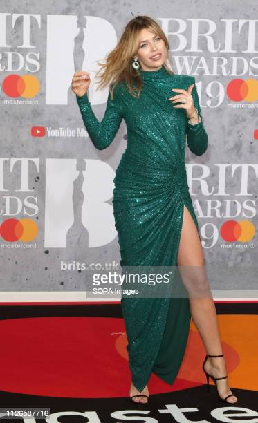 Abbey Clancy seen on the red carpet during The BRIT Awards 2019 at The O2 Peninsula Square in London