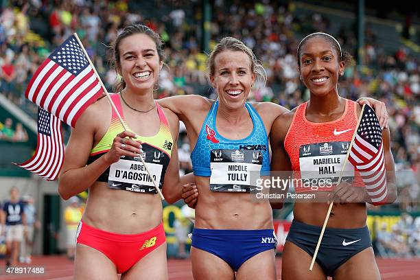 Abbey D'Agostino Nicole Tully and Marielle Hall pose together after winning in the Women's 5000 Meter Run final during day four of the 2015 USA...