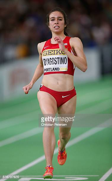 Abbey D'Agostino of the United States competes in the Women's 3000 Metres Final during day four of the IAAF World Indoor Championships at Oregon...