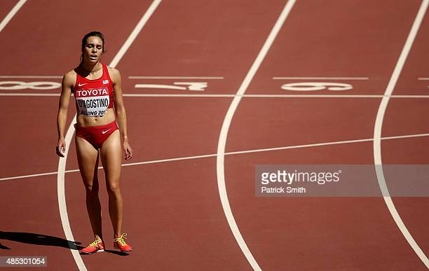 Abbey D'Agostino of the United States reacts after competing in the Women's 5000 metres heats during day six of the 15th IAAF World Athletics...